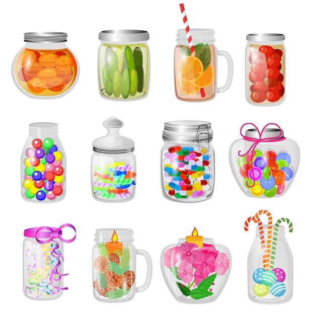 Doce de vidro do frasco do vetor ou geleia doce em produtos vidreiros do pedreiro com tampa ou tampa para enlatar e preservar o grupo vítreo da ilustração de vidro colocando com a conservação isolada. Vetor Premium