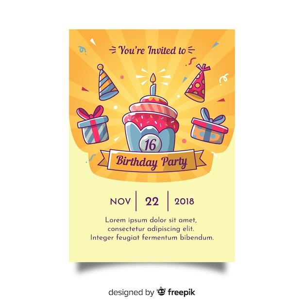 Doce dezesseis convites de aniversário Vetor grátis