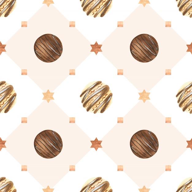 Doce padrão de aquarela de natal com bombons de chocolate Vetor Premium