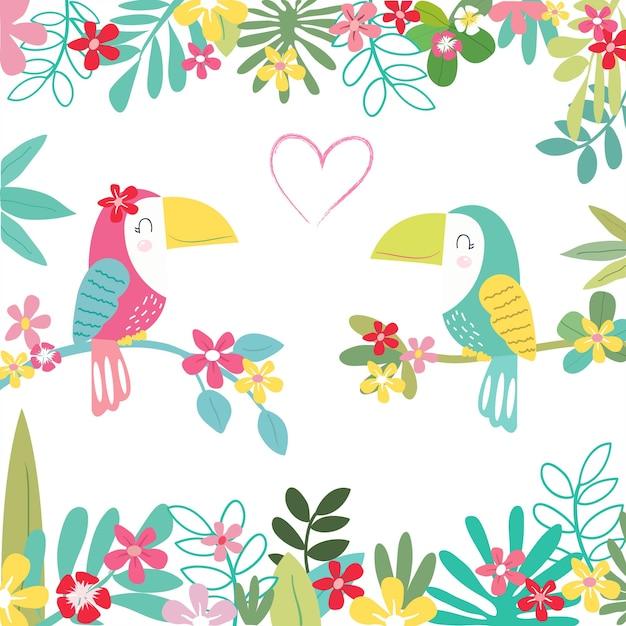 Doce um papagaio casal no padrão de floresta tropical. Vetor Premium