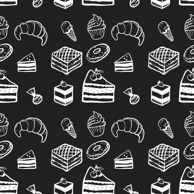 Doces, bolo, padrão sem emenda Vetor Premium