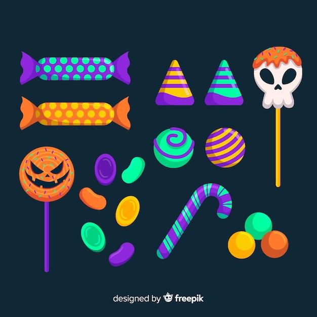 Doces de açúcar de caveira e abóbora para o halloween Vetor grátis