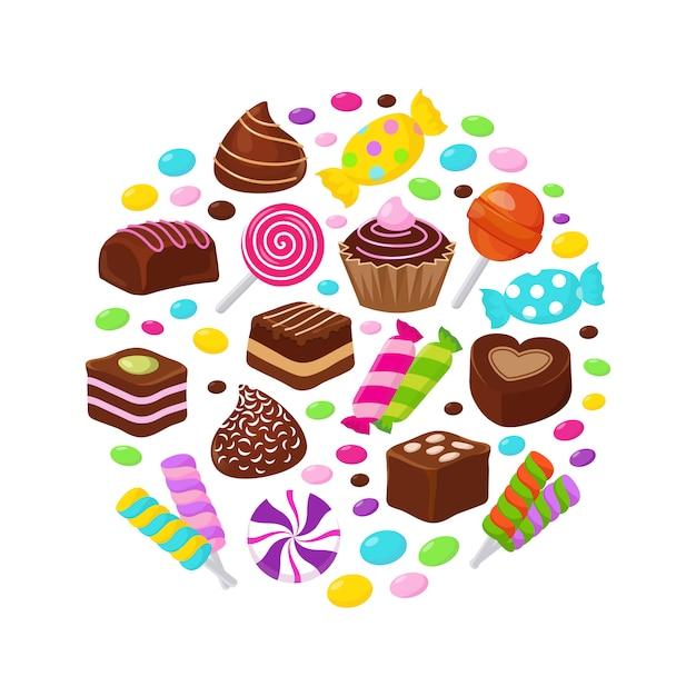 Doces de frutas coloridas e doces de chocolate lisos ícones no design do círculo Vetor Premium