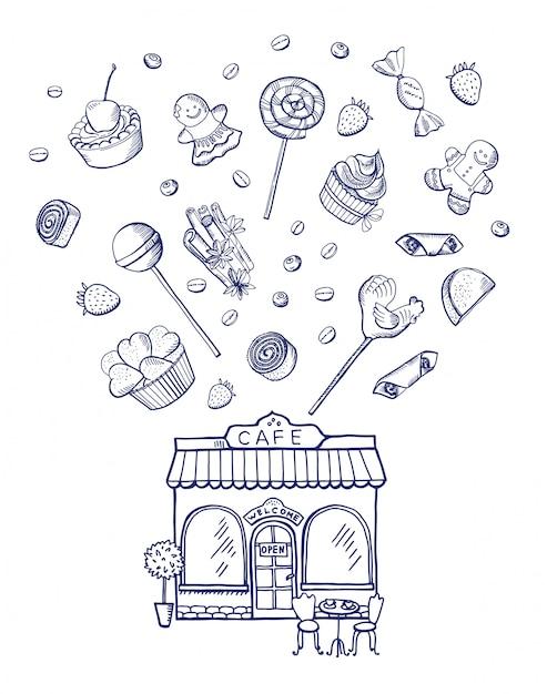 Doces de mão desenhada espalhando fora do edifício de loja de pastelaria Vetor Premium