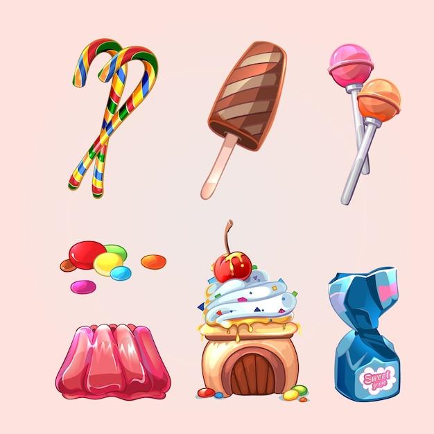 Doces e biscoitos de vetor definidos no estilo cartoon. conjunto de pirulito e caramelo, guloseimas saborosas, bolo e sorvete Vetor grátis