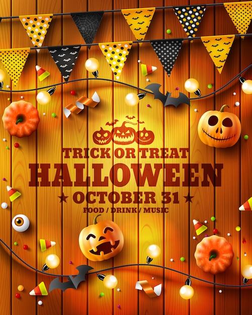 Doces ou travessuras cartaz de festa de halloween, panfleto ou convite Vetor Premium