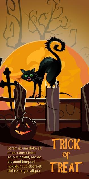 Doces ou travessuras letras com lua laranja, gato de bruxa e abóbora Vetor grátis