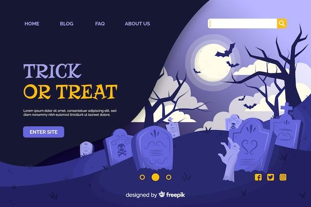 Doces ou travessuras página de destino do dia das bruxas Vetor grátis