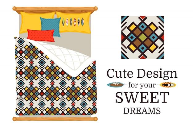 Doces sonhos deisgn lençóis com padrão decorativo geométrico decorativo e peça de padrão, ilustração vetorial Vetor Premium