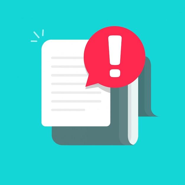 Documento com alerta ou cuidado erro notificação bolha ícone plana dos desenhos animados Vetor Premium