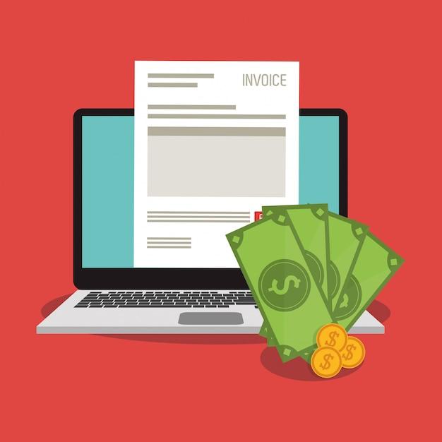 Documento de fatura e laptop Vetor Premium