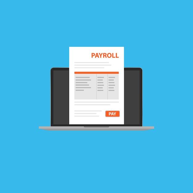 Documento de folha de pagamento em seu laptop. Vetor Premium