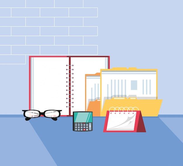 Documento de pasta com escritório de suprimentos no local de trabalho Vetor Premium