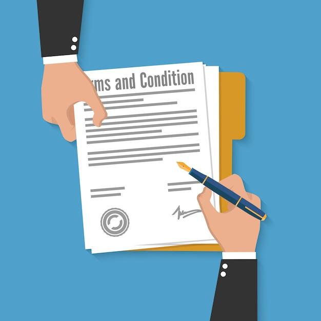 Documento de termos e condições Vetor Premium