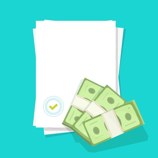 Documento em branco com carimbo do selo como oferta de sucesso e dinheiro aprovado dinheiro vazio folha plana papel em branco dos desenhos animados Vetor Premium