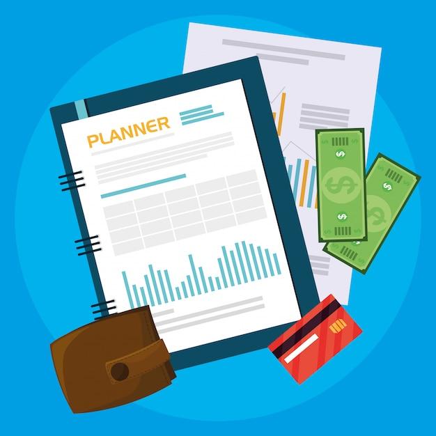 Documentos de exibição aérea e itens de escritório Vetor Premium