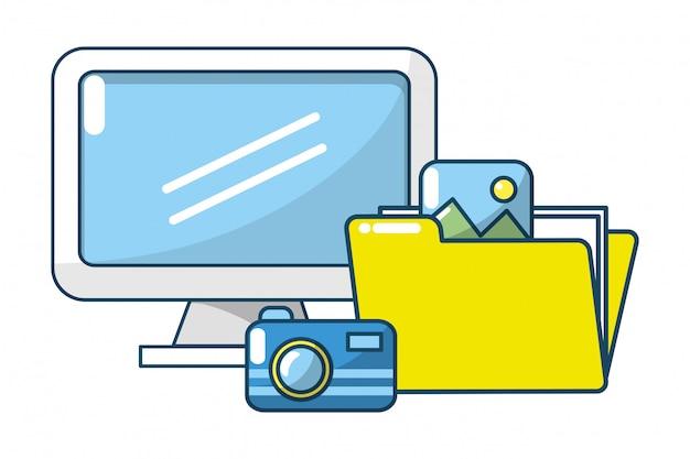 Documentos de pastas digitais de tecnologia Vetor Premium