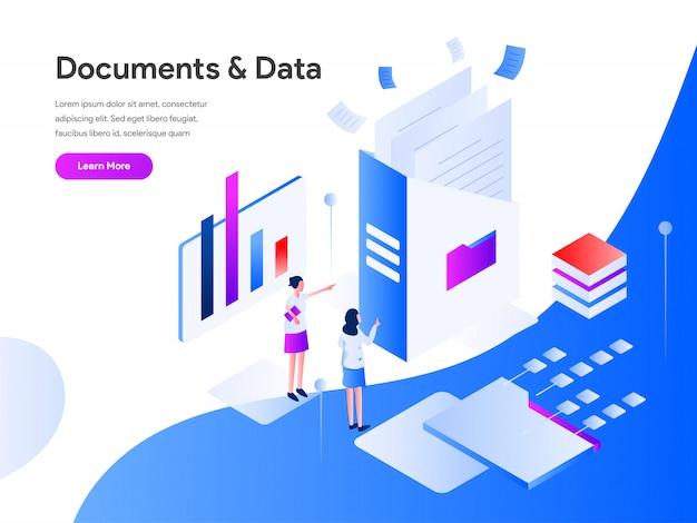 Documentos e dados isométricos Vetor Premium