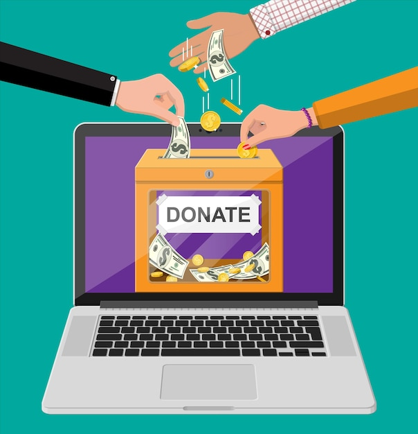 Doe conceito online. caixa de doação com moedas de ouro, notas de dólar e laptop. caridade, doação, ajuda e conceito de ajuda. Vetor Premium