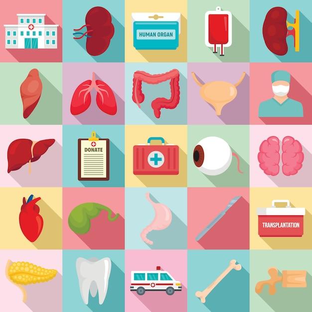 Doe o conjunto de ícones de órgãos, estilo simples Vetor Premium