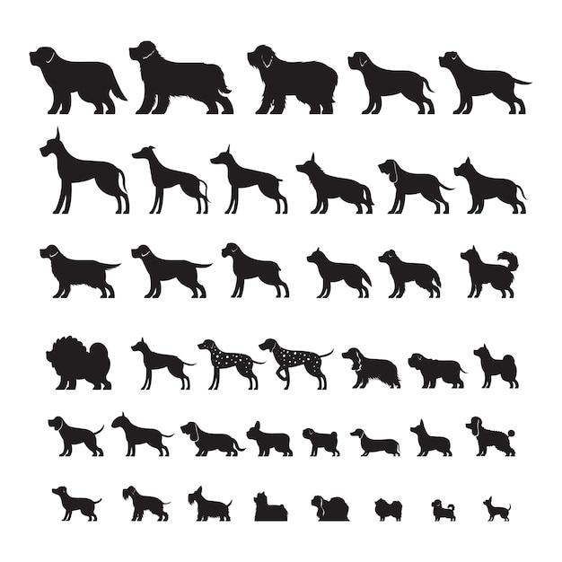 Dog breeds side view, silhouette set Vetor Premium