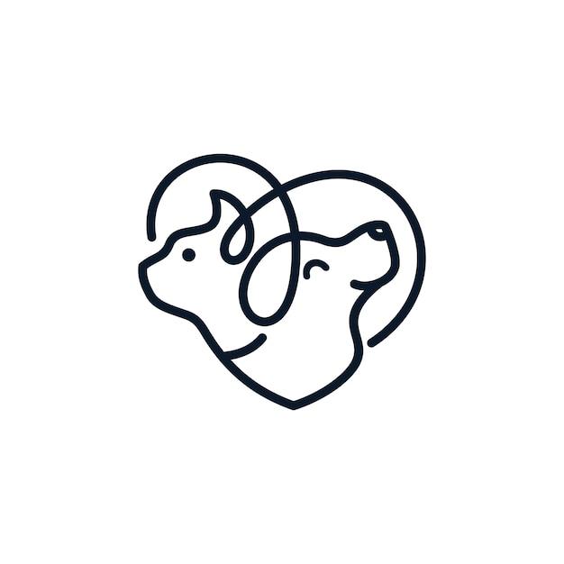 Dog cat logo template veterinária Vetor Premium