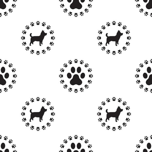 Dog paw seamless pattern vector isolado filhote de cachorro Vetor Premium