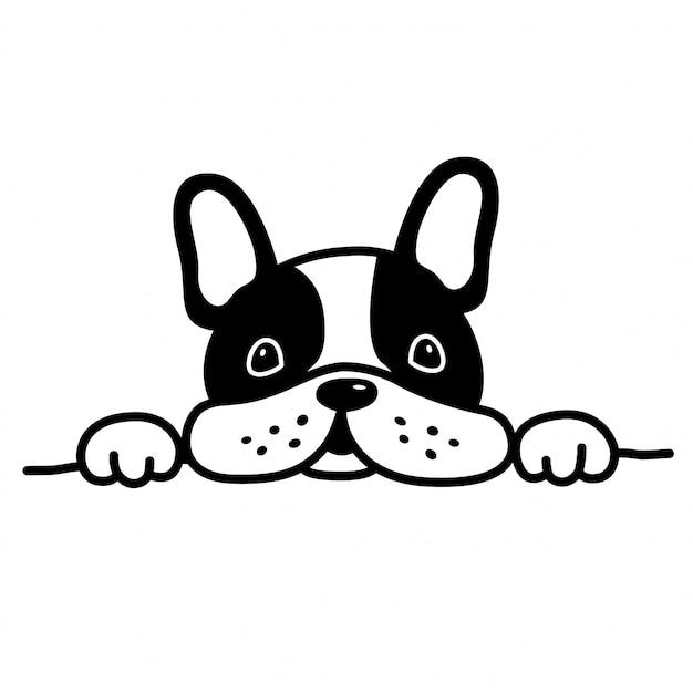 Dog vector french bulldog animal de estimação filhote de cachorro dos desenhos animados Vetor Premium
