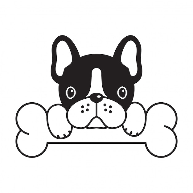Dog vector french bulldog bone filhote de cachorro dos desenhos animados Vetor Premium