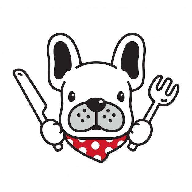 Dog vector french bulldog padaria comida filhote de cachorro dos desenhos animados Vetor Premium