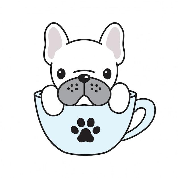 Dog vector french bulldog xícara de café pata dos desenhos animados Vetor Premium