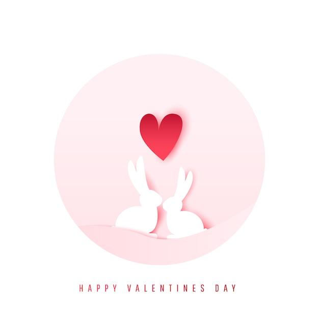 Dois adoráveis coelhos dos desenhos animados Vetor Premium