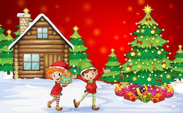 Dois anões brincalhões perto das árvores de natal Vetor grátis