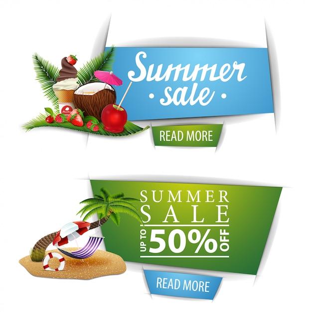 Dois banners clicáveis de venda de verão com botões Vetor Premium