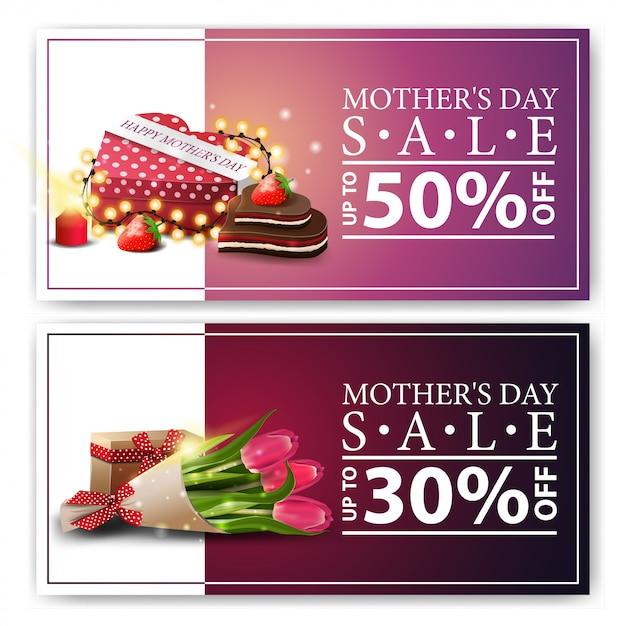 Dois banners de desconto para o dia das mães Vetor Premium