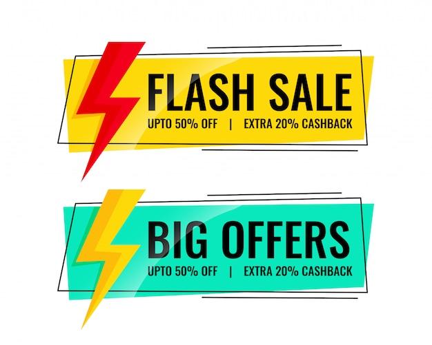 Dois banners de venda com detalhes da oferta Vetor grátis