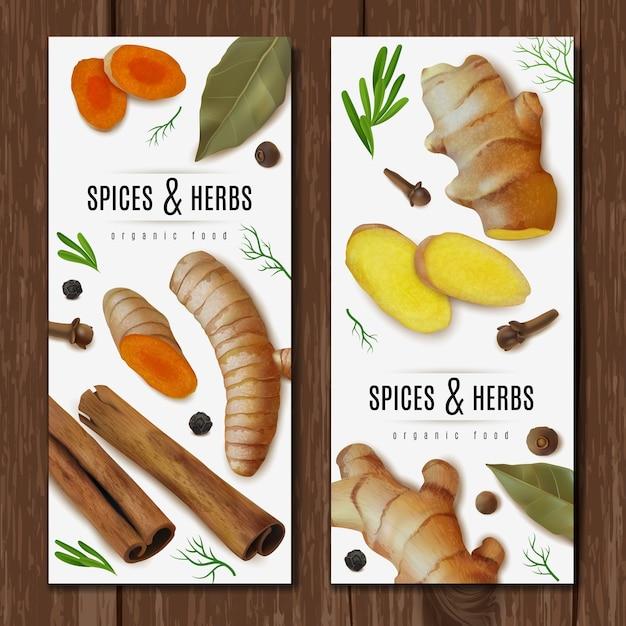 Dois banners verticais com ervas e especiarias Vetor Premium