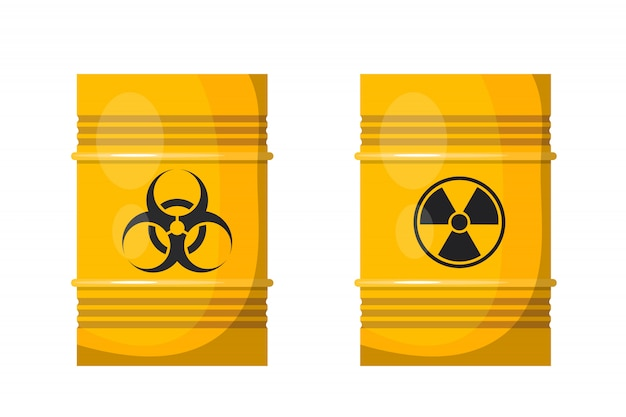Dois barris de metal amarelo com sinais pretos de radiação Vetor Premium