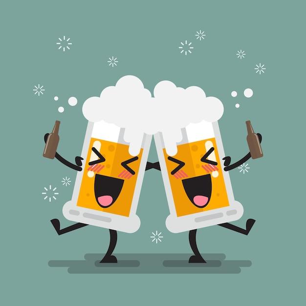 Dois bêbado cerveja óculos personagem Vetor Premium