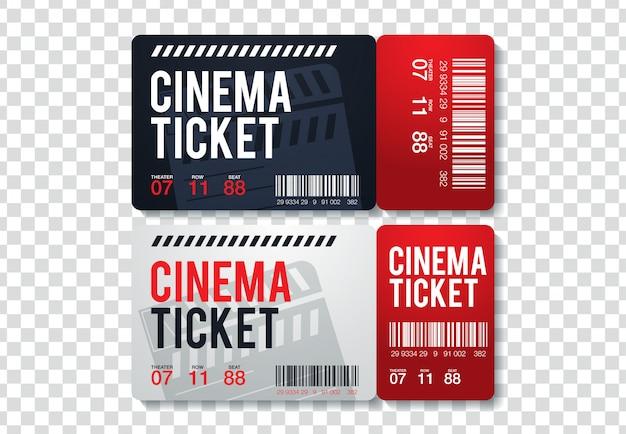 Dois bilhetes de cinema isolados em fundo transparente. ilustração realista vista frontal Vetor Premium