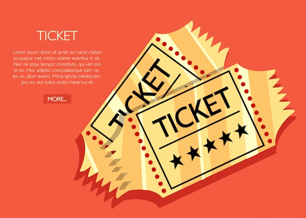 Dois bilhetes de cinema retro dourado. conceito de cinema. ilustração de cinema. ilustração em fundo vermelho Vetor Premium