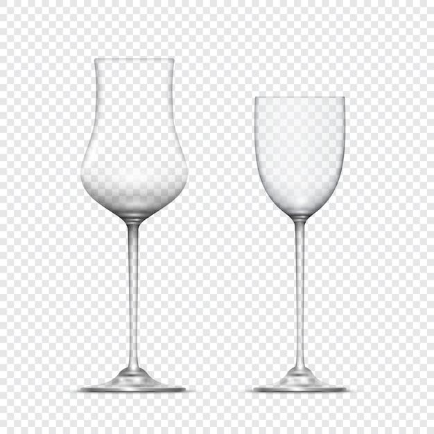 Dois cálices de copos vazios realistas transparentes Vetor Premium