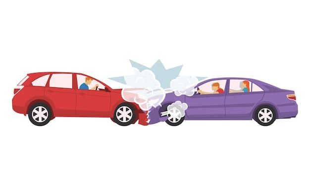 Dois carros colidiram e destruíram Vetor Premium