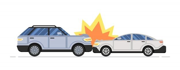 Dois carros destruídos. acidente de carro Vetor Premium