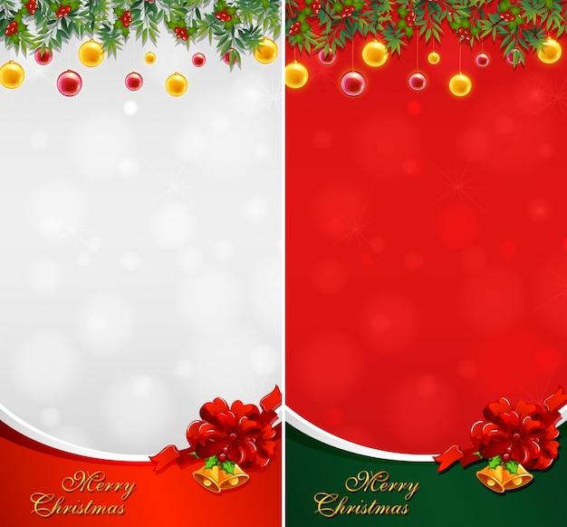 dois cartes de natal com bolas e sinos vetor grtis