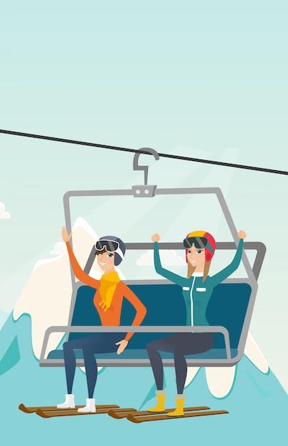 Dois, caucasiano, esquiadores, usando, teleférico, em, refúgio esqui Vetor Premium