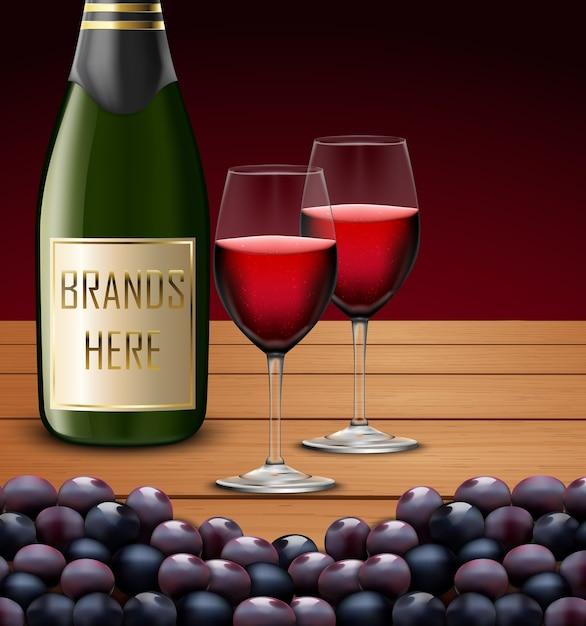 Dois copo de vinho e garrafas de champanhe Vetor Premium