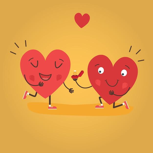 Dois corações felizes Vetor Premium