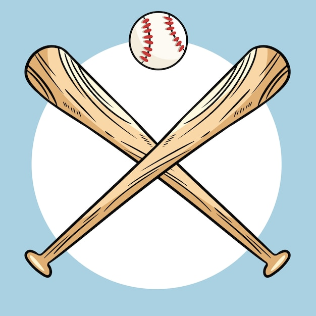 Dois, cruzado, tacos beisebol, e, bola, ícone, esportes, logotipo Vetor Premium