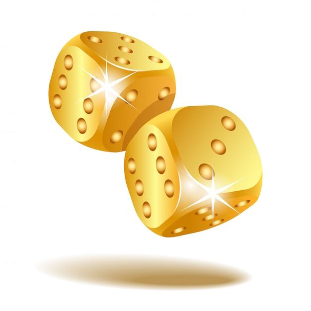 Dois dados de queda dourados isolados no branco Vetor Premium